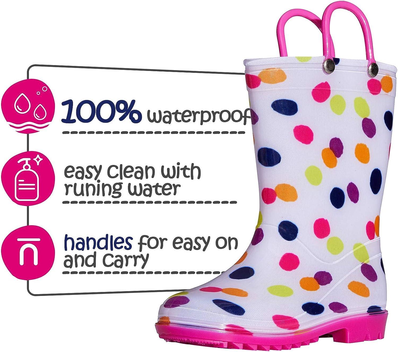 Toddler//Little Kid//Big Kid SHOFORT Kids Boys Girls Rain Boots with Easy-on Handles Rainboots