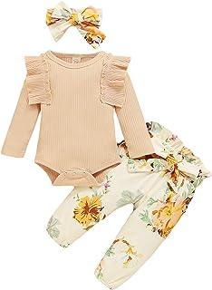 Geagodelia Baby Kleidung Mädchen Langarm Body Strampler Blumen Hose Stirnband Baby Neugeborenen Set Mädchen Outfit Babykleidung Set