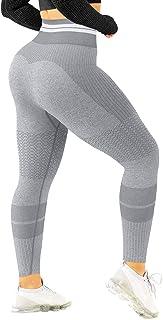 HYZ Women's High Waist Workout Gym Yoga Tights Seamless Tummy Control Butt Lift Legging