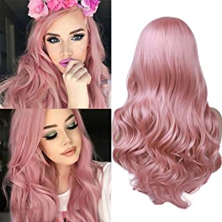 (Cherry Pink) - Hanne Fashion Pink Wig Long Curly Wavy Wigs for Women Side Part Heat Resistant Synthetic Wig for Party Cos...