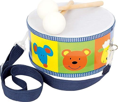 3315 Tambour Animaux en bois / instrument de musique pour enfants avec animaux colorés, Courroies et baguettes de tam...