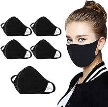 5pcsReusable cotton fabric, neutral black cotton, washable, anti-fog, dust-proof