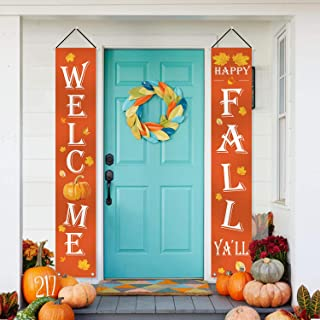 ORIENTAL CHERRY Fall Decorations - Welcome Happy Fall YallLarge Hanging Flags Signs Porch Banners - Autumn Decorfor Home Door Birthday Party Yard Outdoor