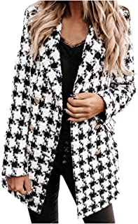 SSMENG Women's Lapel Button Plaid Blazer Casual Long Sleeve Slim Work Office Double Breasted Woolen Jacket for Ladies