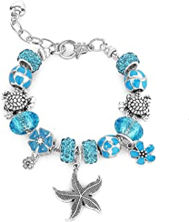 Majesto Beach Charm Bracelet for Women and Girls 7-8.5 Inch Sea Turtle Bracelet Sea Star Ocean Summer Bracelets Sea Glass Jewelry Gifts Silver Plated