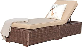 Super Patio Outdoor Adjustable Pool Rattan Chaise Lounge Chair with Steel Frame, Beige Cushions, Brown PE Wicker
