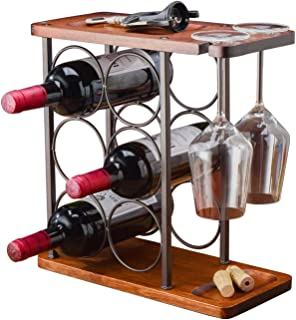 Tabletop Wood Wine Rack, Countertop Wine Holder Storage Stand for 6 Bottle Wine and 2 Glasses, Perfect for Home Decor, Ba...