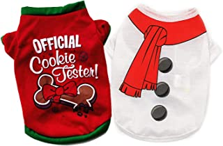Ollypet Pack of 2 Christmas Clothes for Dogs - Warm Soft 100% Cotton Pet Santa & Snowman Costume - Festive Christmas Theme...