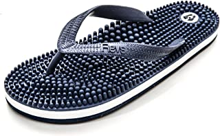 Revs - Reflexology Massage Flip Flops - For Men and Women - Massage Footbed and Natural Therapy - Stimulated Pressure Points, Boosts Health and Wellbeing - Sophisticated Design, Classic Look