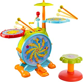 Huile 666 Electric Toy Jazz Drum Set for Kids Musical Instrument Playset with Microphone and Chair, Green