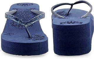 WMK Women's Slippers Indoor House or Outdoor Latest Fashion Black Wedge Heel Flipflop Slipper for Women
