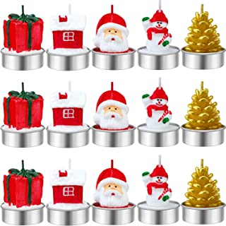 Jetec 15 Pieces Christmas Candles Santa Snowman Pine Cone Gift House Candles for Home Party Halloween Christmas Wedding Holiday Celebration Decoration (Style B)