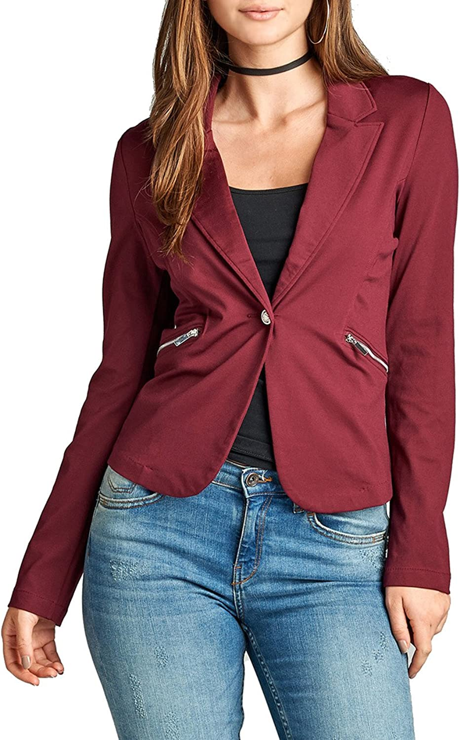 Hollywood Star Fashion Women's Single Button Long Sleeve Ponte Blazer with Front Zipper Detail