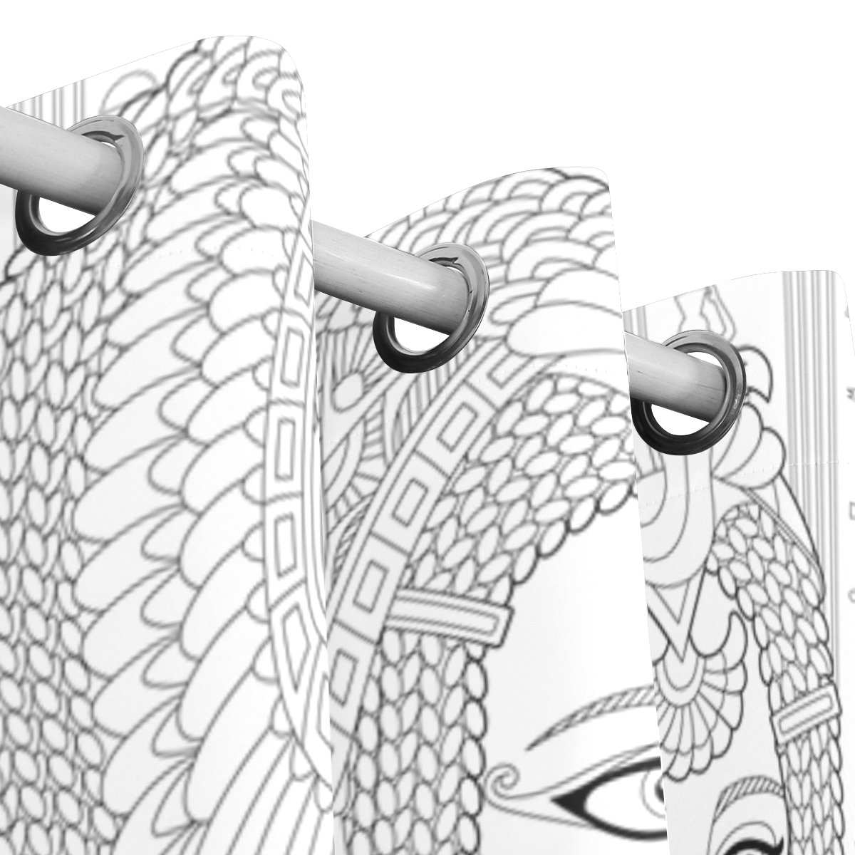 JSTEL - Cortinas de tutankhamen de estilo antiguo Pharaoh Queen Cleopatra, paneles de cortinas oscurecimiento opacos, separador de habitación, para patio, ventana, puerta corredera de cristal, 140 x 213 cm, juego de