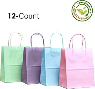 Medium (12 Count) Pastel Assorted Biodegradable, Food Safe Ink and Paper, Premium Quality Paper (Sturdy and THICKER), Kraft Bag With Colored Sturdy Handle