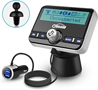 Oasser 2.4inch FM Transmitter for Car Bluetooth Audio Transmitters Receiver Aux Hands Free Calling Car Kit with MP3 Player QC3.0 Dual USB Ports Car Charger 5V/1A 2.4A TR3