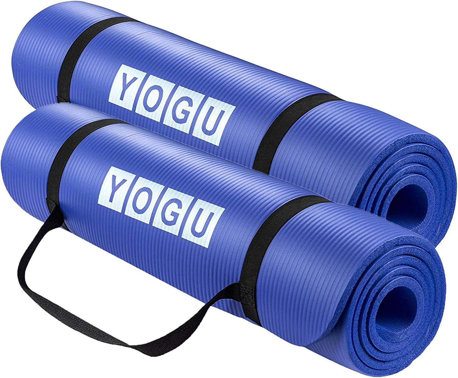 Yoga Mat 1 2 Inch Thick MultiPurpose Lightweight Pilates Fitness Mats Durable Washable NonSlip Surfaces SweatProof Gym Workout Exercise Yoga Mat with Carrier Strap  6 FT x 2 FT (blueee  2 PK)