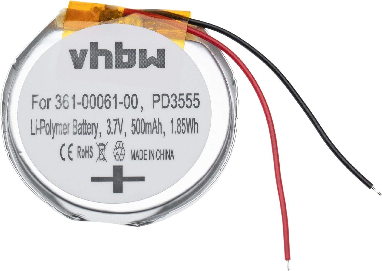 vhbw Batería Recargable reemplaza Garmin 361-00061-00, PD3555, PD3555w para smartwatch, Reloj de Actividad (500 mAh, 3,7 V, polímero de Litio)