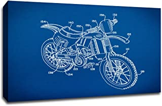 ArtsyCanvas Dirt Bike Gearhead Blueprint Art (24x16 Canvas), 24