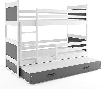 Litera triple (3 personas) RICO 200X90 , blanco - gris , con somieres y colchones de espuma (dos- 200x90 y del cajón- 190x80) GRATIS