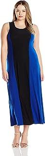 Women's Plus-Size Sleeveless Black Stripe Color-Block Sleeveless Maxi Dress