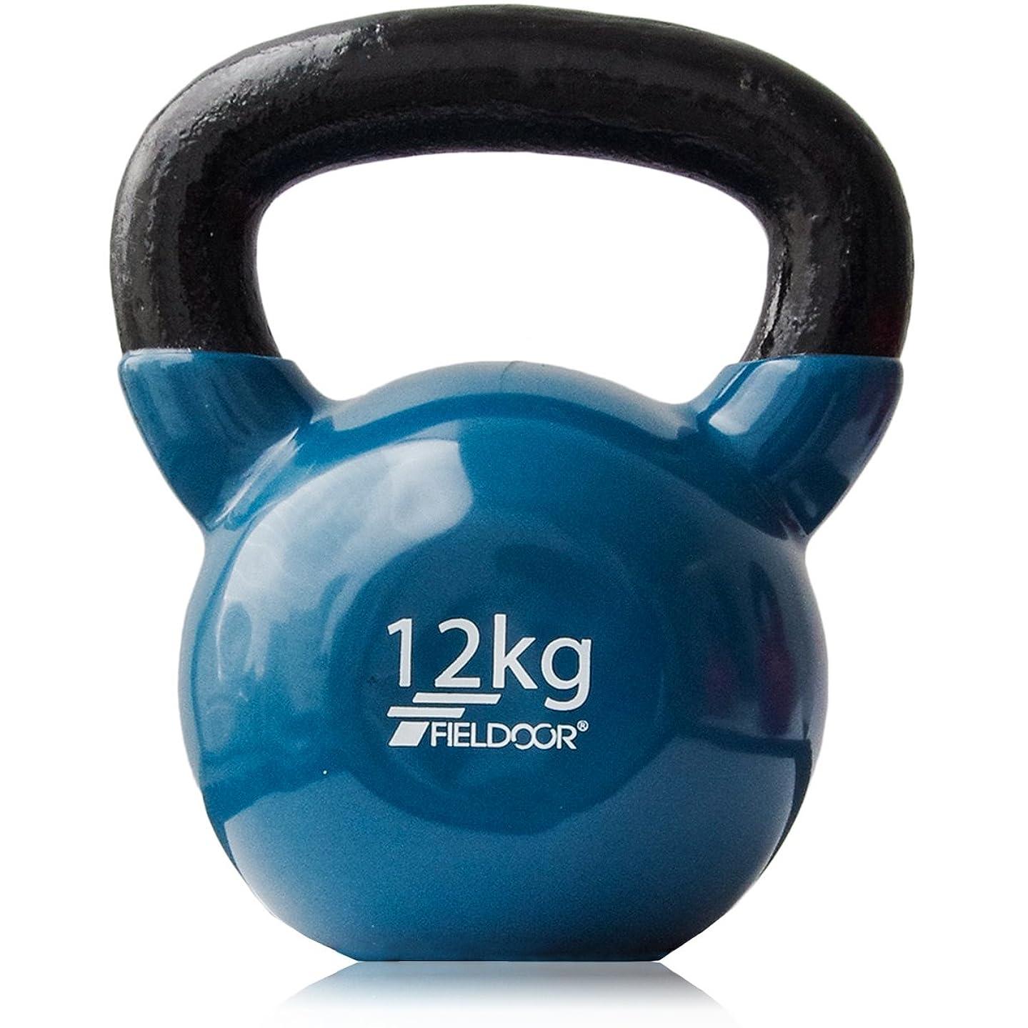 反対した曲げるリーダーシップFIELDOOR ケトルベル 4kg / 5kg / 8kg / 10kg / 12kg / 16kg / 20kg / 24kg ソフトなPVCコーティング 音軽減 キズ防止 体幹トレーニング
