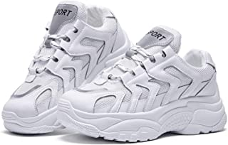 BOYATU Chunky Sneakers for Women Sports Walking Shoes Lightweight Leather Trainers