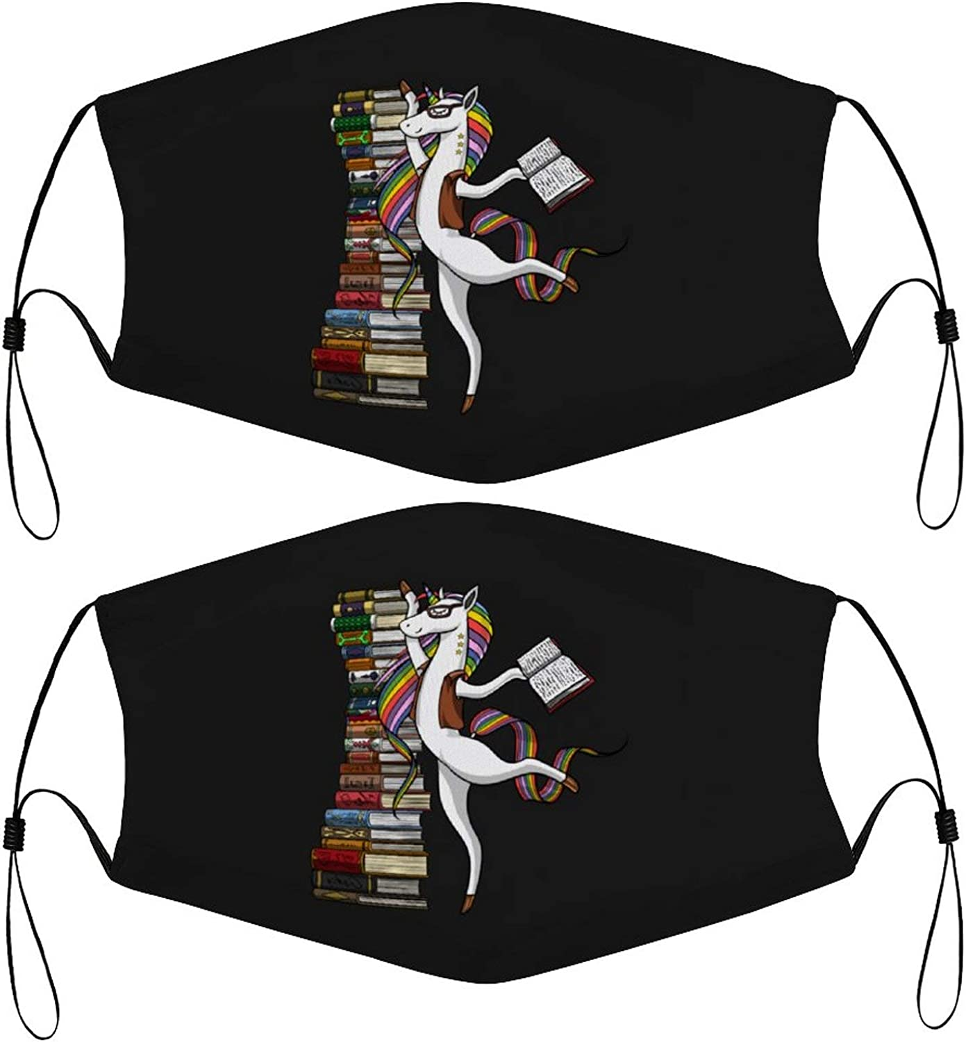 Unicorn Librarian Kids Face Mask Set of 2 with 4 Filters Washable Reusable Adjustable Black Cloth Bandanas Scarf Neck Gaiters for Adult Men Women Fashion Designs