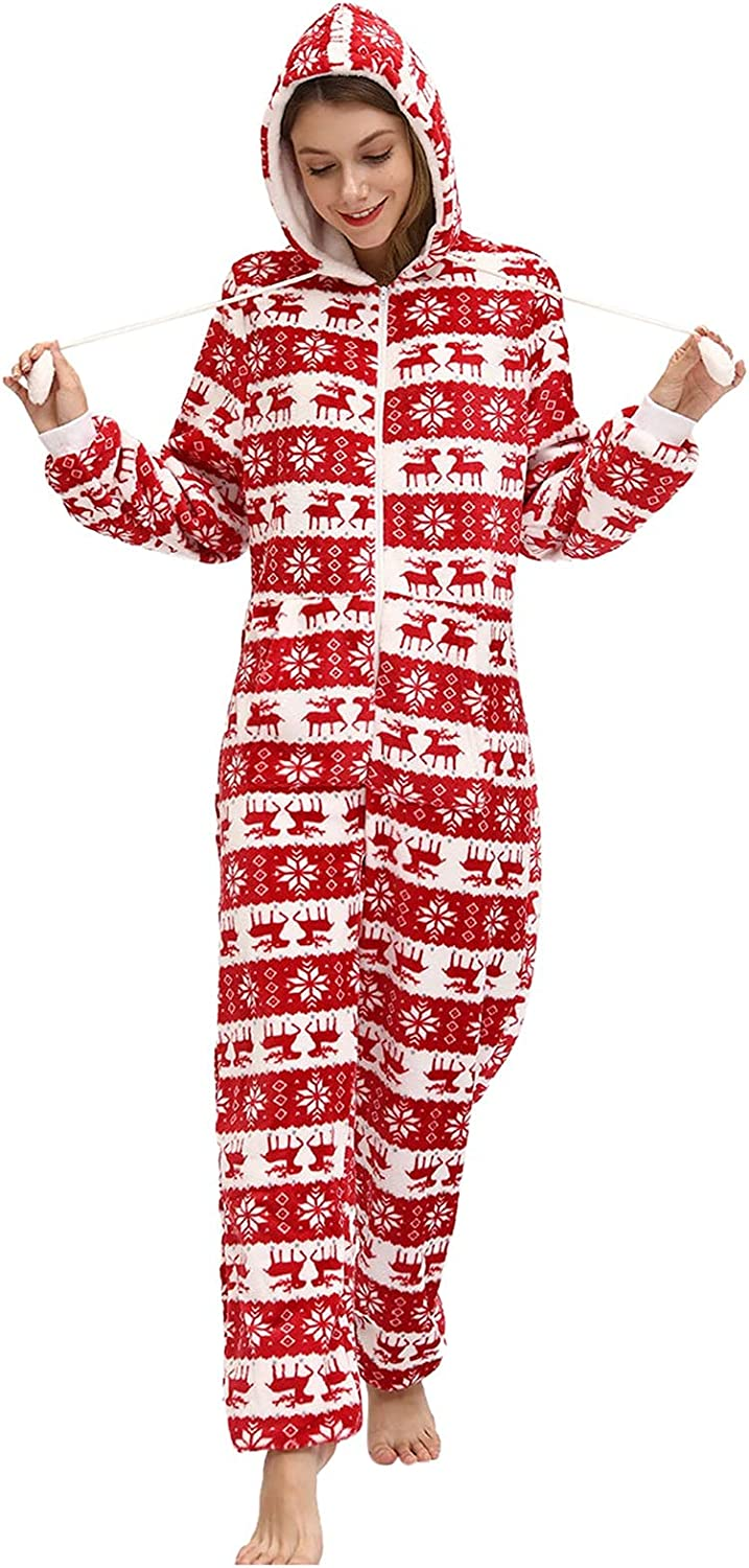 HULKAY Women Christmas Snowflake Plaid Warm Jumpsuit Long Sleeve Outlet sale feature Challenge the lowest price of Japan ☆