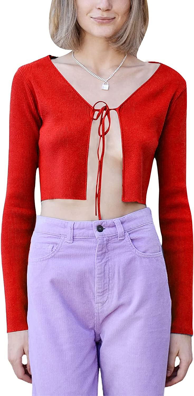 Women Front Tie Up Crop Tops Autumn Kintted Sexy V Neck Cardigan Shirt Y2K Harajuku Streetwear