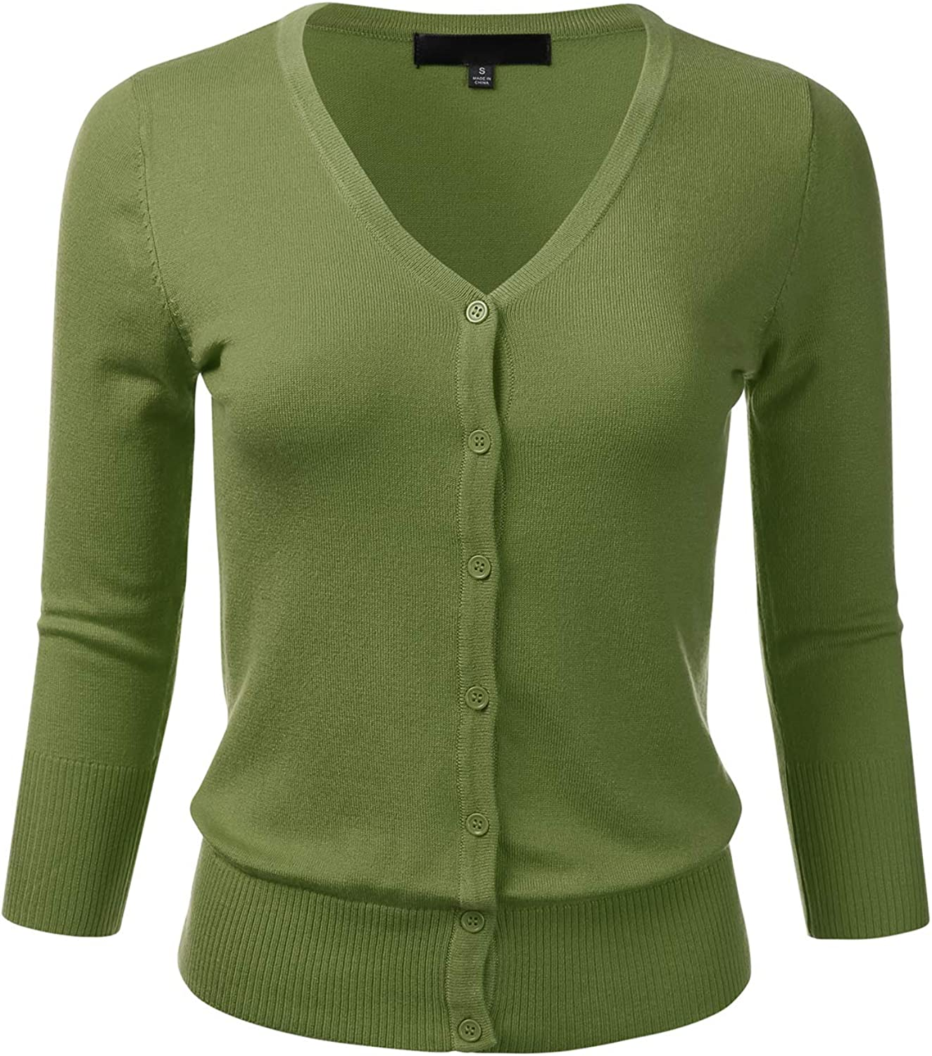 FLORIA Women's Button Down 3/4 Sleeve V-Neck Stretch Knit Cardigan Sweater (S-3X)