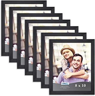 Icona Bay 8x10 Picture Frame Pack (7 Pack, Black) 8 x 10 Frame, Tabletop and Wall Hang Hardware Included with Photo Frames, Impresia Collection