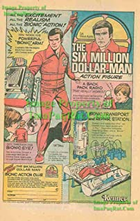 Six Million Dollar Man: Bionic Man Action Figure / Playset: Kenner: Great Original 1976 Print Ad!
