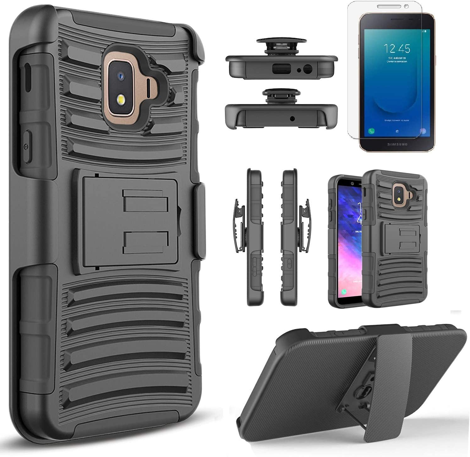 Circlemalls - Samsung Galaxy J2 / J2 Core Phone Case, With [Tempered Glass Screen Protector Included], Armor Heavy Duty Kickstand Cover With Belt Clip Holster - Black