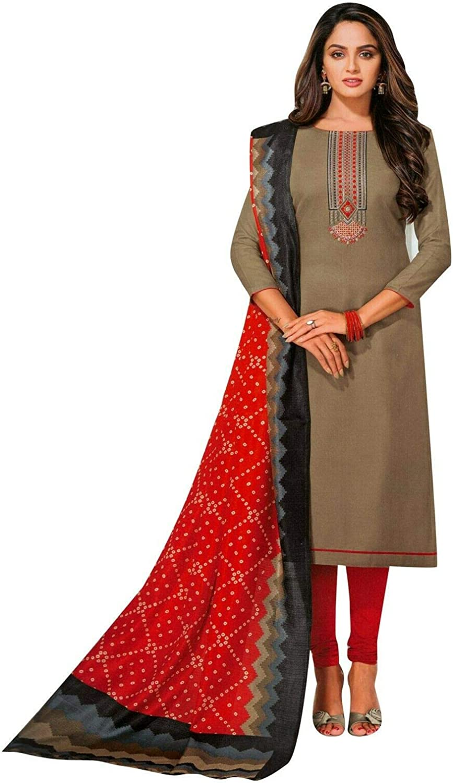 ladyline Slub Cotton Plain Embroidered Salwar Kameez Suit with Bhagalpuri Silk Dupatta