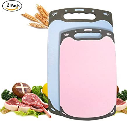 BOQUN Cutting Board Set 2 Pieces Wheat Straw Chopping Block Food Grade Plastic Kitchen Carving Boards with Handle and Non-Slip Feet for Food Prep, Meat, Vegetables, Fruit, Anti-mildew, BPA Free, Eco Friendly