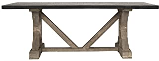 nOir Vintage X Base Table with Hammered Zinc