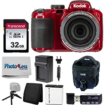 Kodak PIXPRO AZ421 Digital Camera (Red) + Point & Shoot Camera Case + Transcend 32GB SD Memory Card + Extra Battery & Charger + USB Card Reader + Table Tripod + Accessories