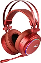 AUKEY Gaming Headset with Noise Isolating & Volume Control, USB Headset with Virtual 7.1-Channel Surround Sound and RGB Light for PC / PS4 (Red)