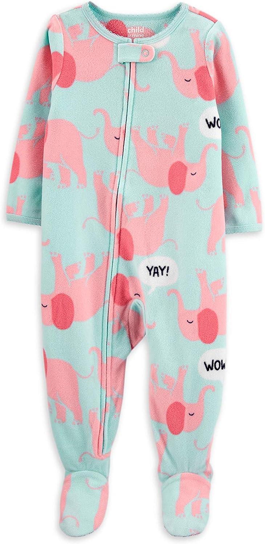 Carter's Little Girls' Toddler Elephant Blanket Sleeper Pajamas (5T) Blue