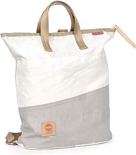 Rucksack Tasche Ketsch Mini, recyceltes Segeltuch, Balken Grau von 360 Grad