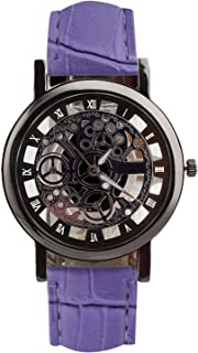 Vintage Cool Men Casual Busis Skeleton Watch Engraving Hollow Roman Numerals Watches Quartz Leather Wristwatch,Black dial pule