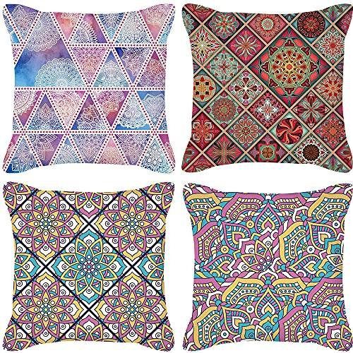 GYMS Set of 4 Decorative 18 X 18 Inches Throw Pillow Covers, Nordic Style Geometric Pattern Cushion Covers, NO Inserts, for Sofa Couch Bed Home Outdoor Car,F