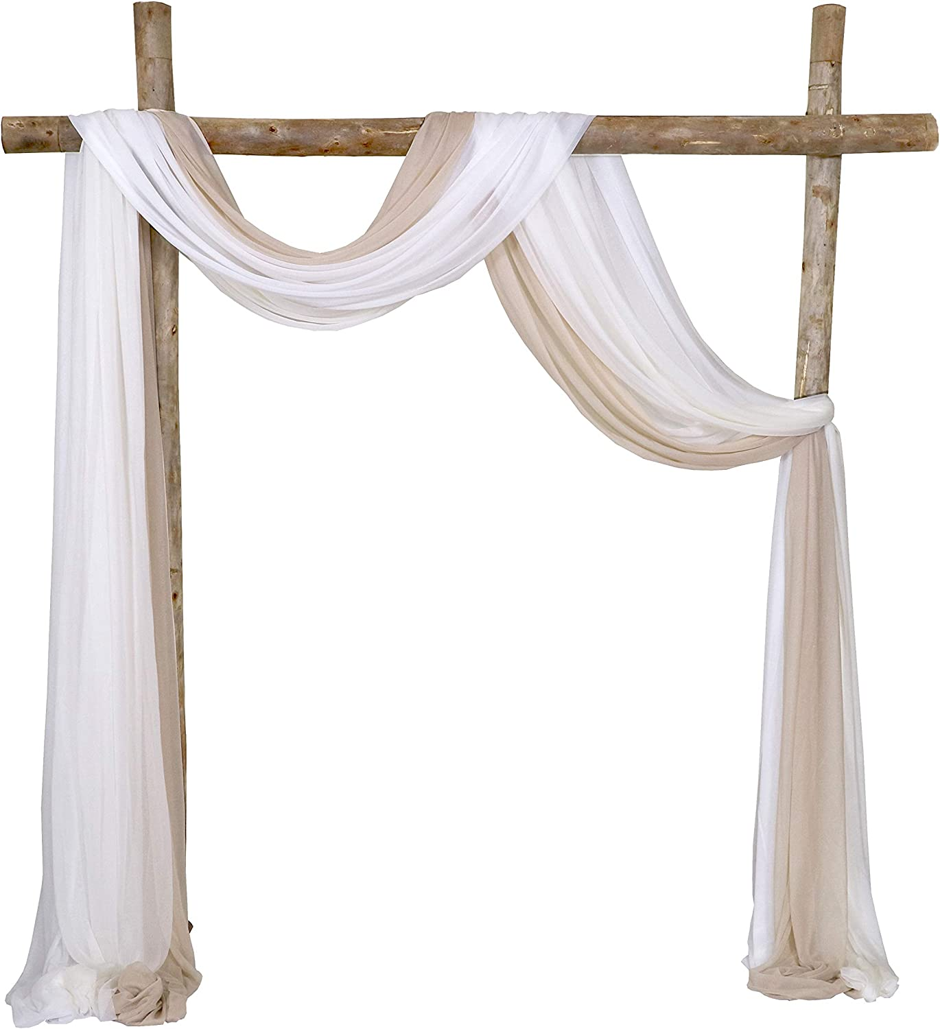 Lookein Chiffon Arch Fabric Drapes for Wedding Arbor CereDrop Decoration Stair Swag, 3 Panels 30
