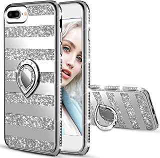 Maxdara iPhone 8 Plus Case iPhone 7 Plus Glitter Striped Cute Women Case Bling Shiny Diamond Rhinestone with Kickstand Ring Stand Case for iPhone 6Plus 6S Plus 7 Plus 8 Plus 5.5 inches (Silver)