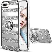 Maxdara iPhone 8 Plus Case iPhone 7 Plus Glitter Striped Cute Women Case Bling Shiny Diamond Rhinestone with Kickstand Rin...