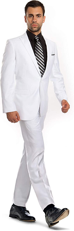 Zeratova One Button Suit Men Slim Fit Blazer Pants Set Casual Formal Sport Jacket Coat Peak Lapel Tuxedo Prom