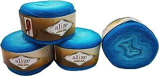 Angora Alize Lot de 4 pelotes de Laine à Tricoter 600 g Doré Ombre 20% Laine 150 g Türkis 7245