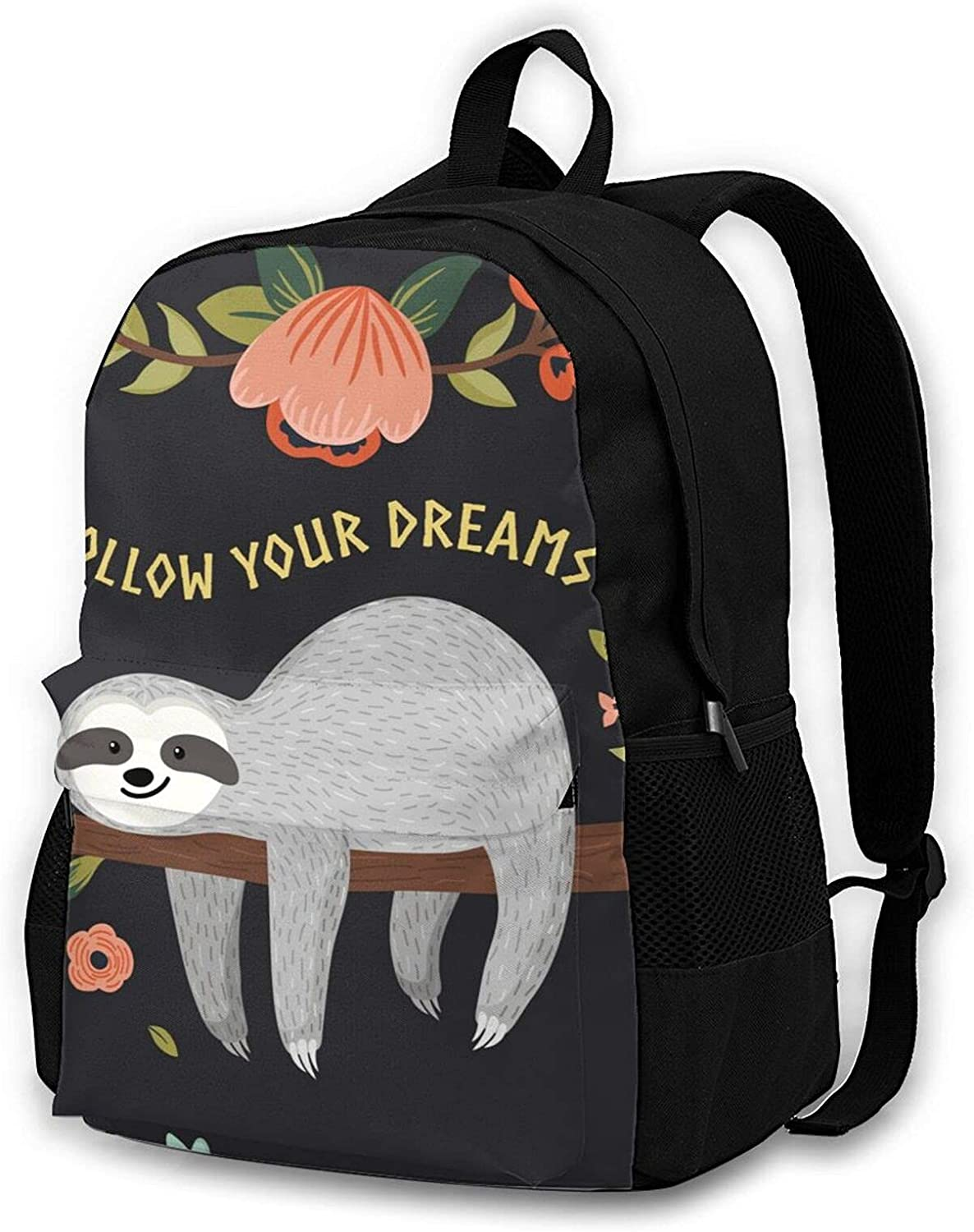 Sloth-follow Travel Laptop Backpack for Men Women College School Computer Bookbag with Business Anti Theft Water Resistant
