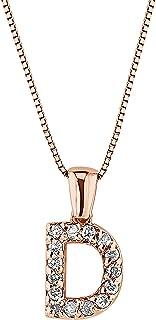 Diamond Wish 14k Rose Gold Diamond Initial Pendant Necklace (1/10cttw) 18-inch Box Chain